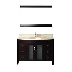 Art Bathe Alba 48-inch W 4-Drawer 2-Door Vanity in Brown With Marble Top in Beige Tan With Faucet And Mirror