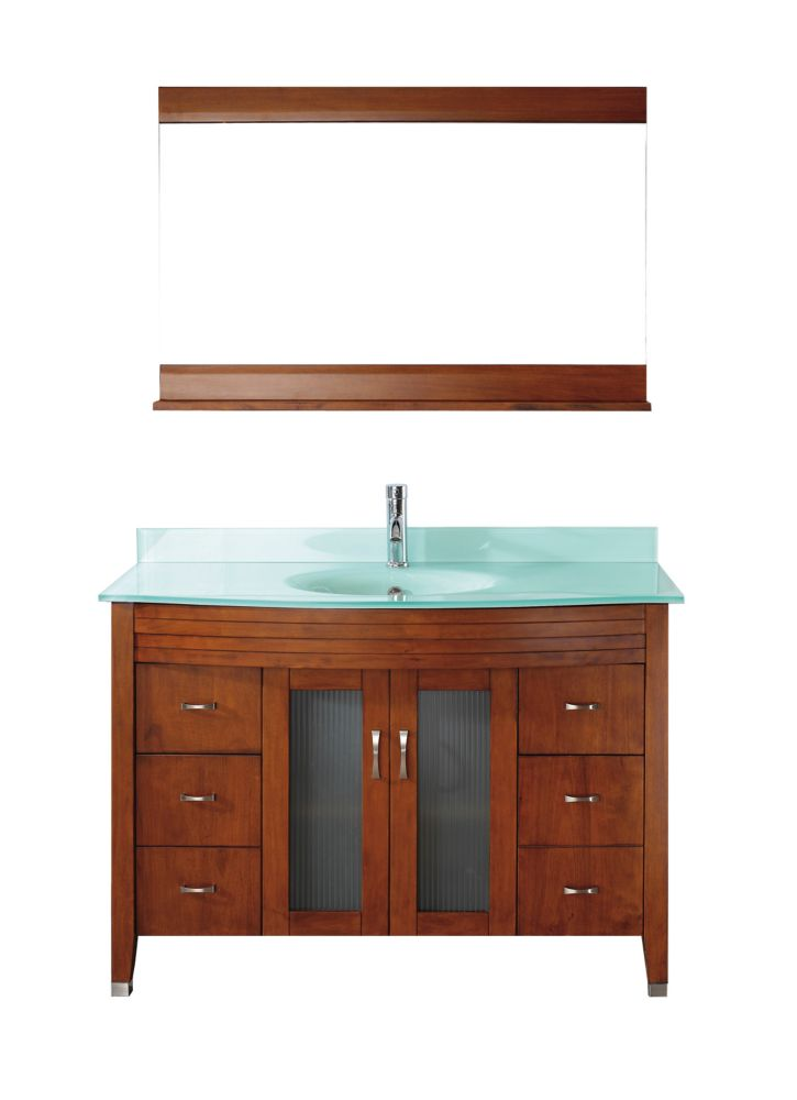 Art Bathe Alba 48-inch W 4-Drawer 2-Door Vanity in Brown With Acrylic Top in Green With Faucet And Mirror