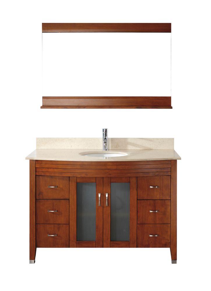Art Bathe Alba 48-inch W 4-Drawer 2-Door Vanity in Brown With Marble Top in Beige Tan With Faucet And Mirror