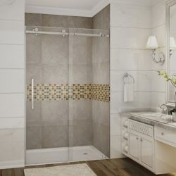 Aston Moselle 48-inch x 75-inch Completely Frameless Sliding Shower Door in Stainless Steel
