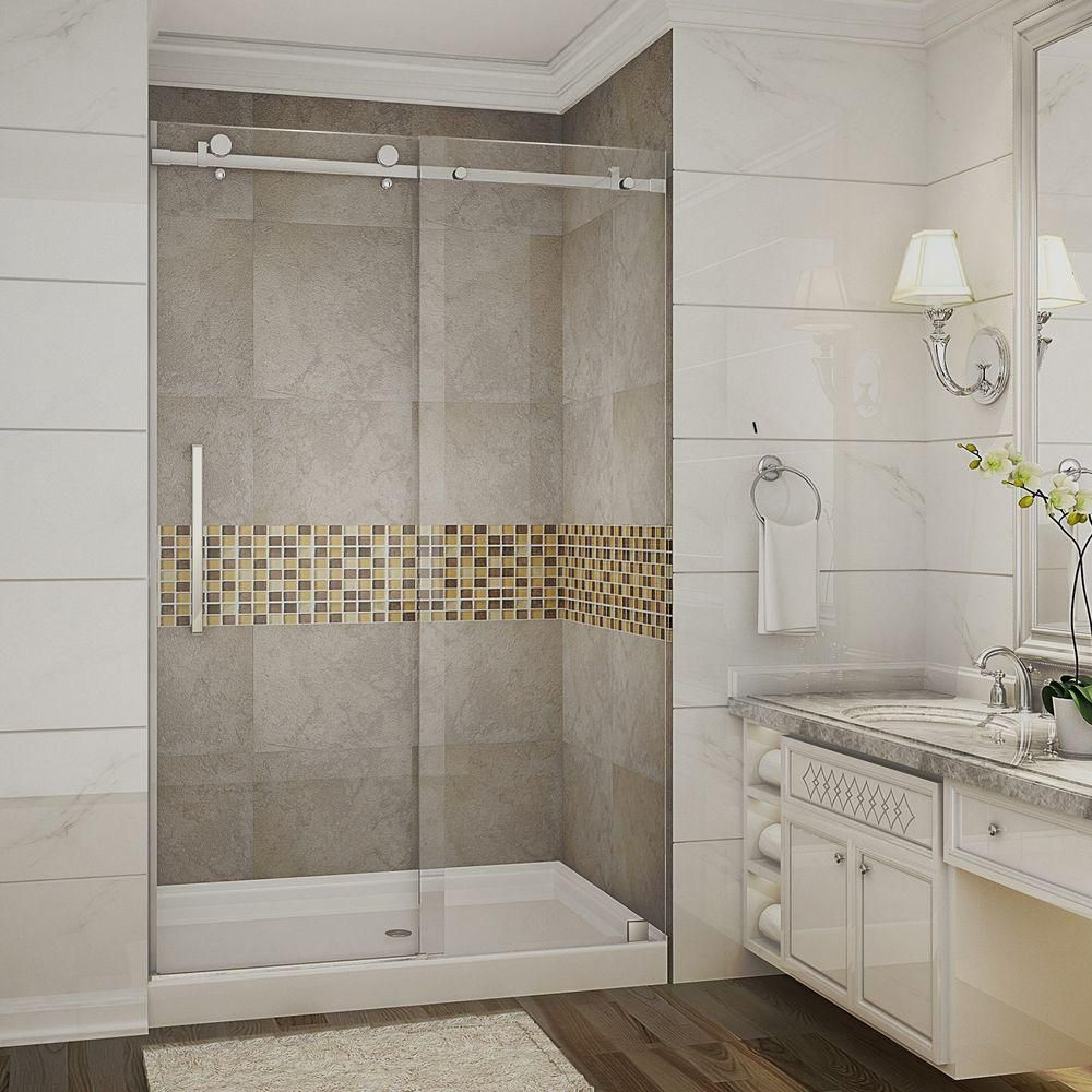 Moselle 48 In x 77.5 In Completely Frameless Sliding Shower Door in Stainless Steel w. Center Bas...