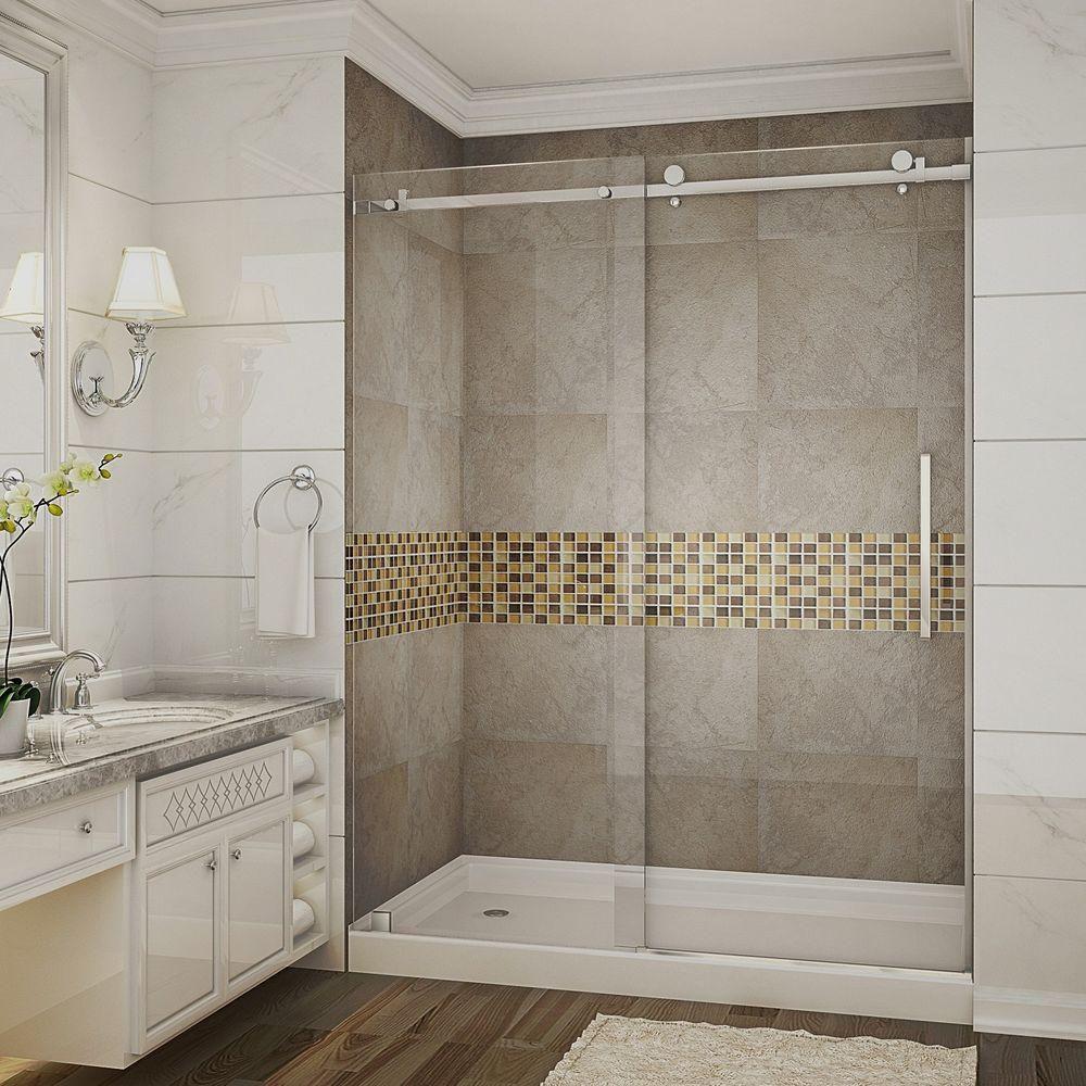 Moselle 60 In x 77.5 In Completely Frameless Sliding Shower Door in Stainless Steel w. Left Base