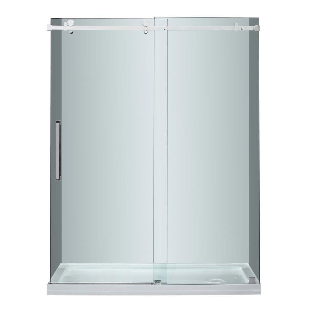 60 po. x 77.5 po. sans cadre coulissant porte de douche en acier inoxydable avec Base de douche d...
