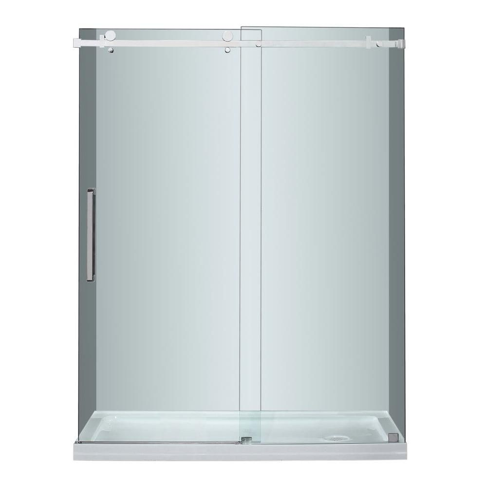 Aston Moselle 60 In x 77.5 In Completely Frameless Sliding Shower Door in Stainless Steel w. Right Base