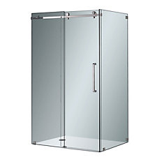 Moselle 48-inch x 35-inch x 75-inch Frameless Corner Sliding Shower Door in Clear Glass & Chrome