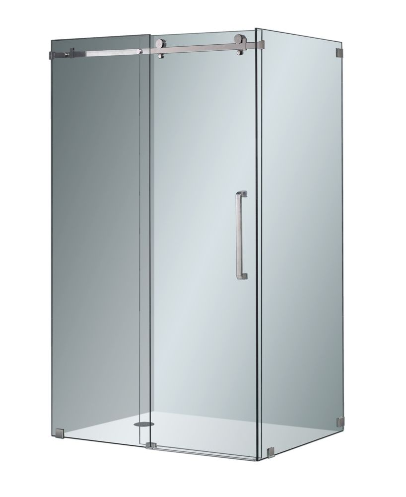 Aston Moselle 48-inch x 35-inch x 75-inch Frameless Corner Sliding Shower Door in Clear Glass & Chrome