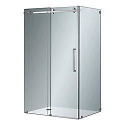 Aston Moselle 48-inch x 35-inch x 75-inch Frameless Corner Sliding Shower Door in Clear Glass