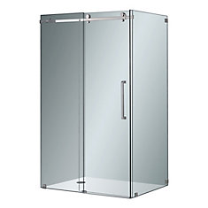 Moselle 48-inch x 35-inch x 75-inch Frameless Corner Sliding Shower Door in Clear Glass