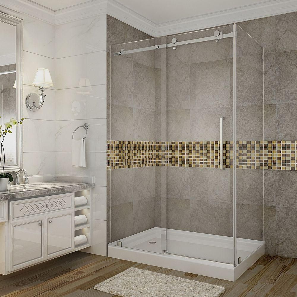 Aston Moselle 48-Inch x 35 Inch x 77 1/2 Inch Frameless Shower Stall with Sliding Door in Stainless Steel