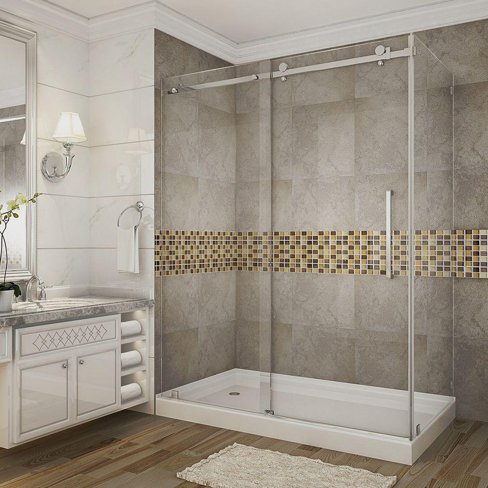 aston moselle 48 inch x 35 inch frameless shower stall