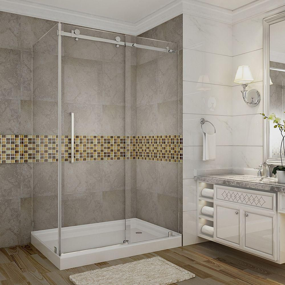 Aston Moselle 48-Inch  x 35-Inch  x 77 1/2-Inch  Frameless Shower Stall with Sliding Door in Stainless Steel