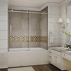 Moselle 60-inch x 60-inch Frameless Tub-Height Sliding Shower Door in Stainless Steel