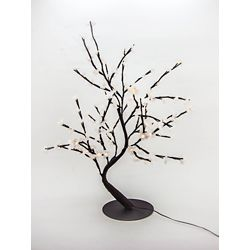 Hi-Line Gift Floral Lights  Lighted White Cherry Blossom Bonsai tree with 128 LED bulbs, Indoor only, 32 Inch  high, AC Adaptor