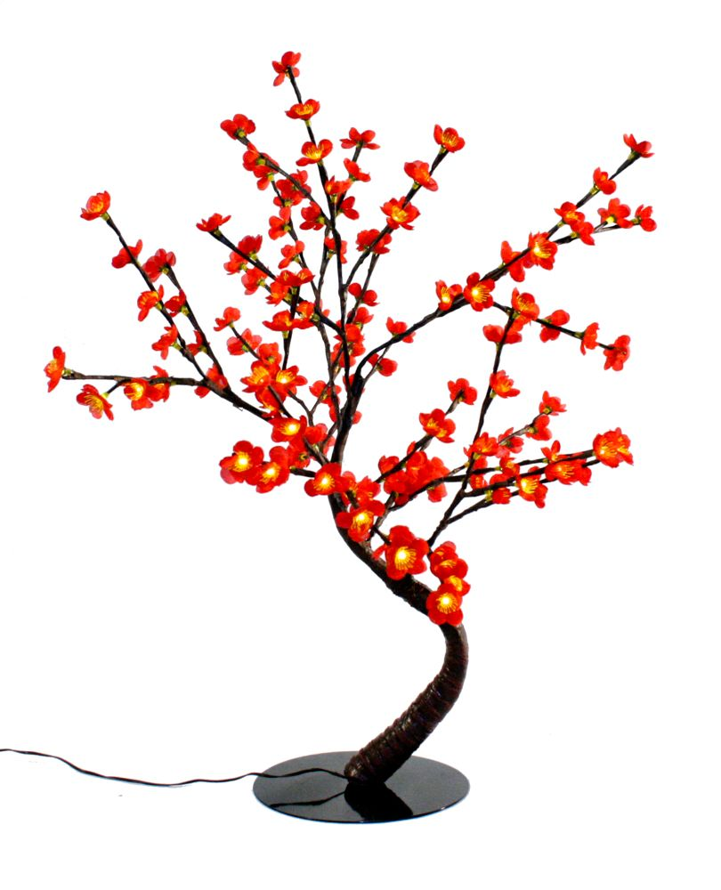 Floral Lights � Lighted Red Cherry Blossom Bonsai tree with 128 LED bulbs, Indoor only, 32 Inch  ...