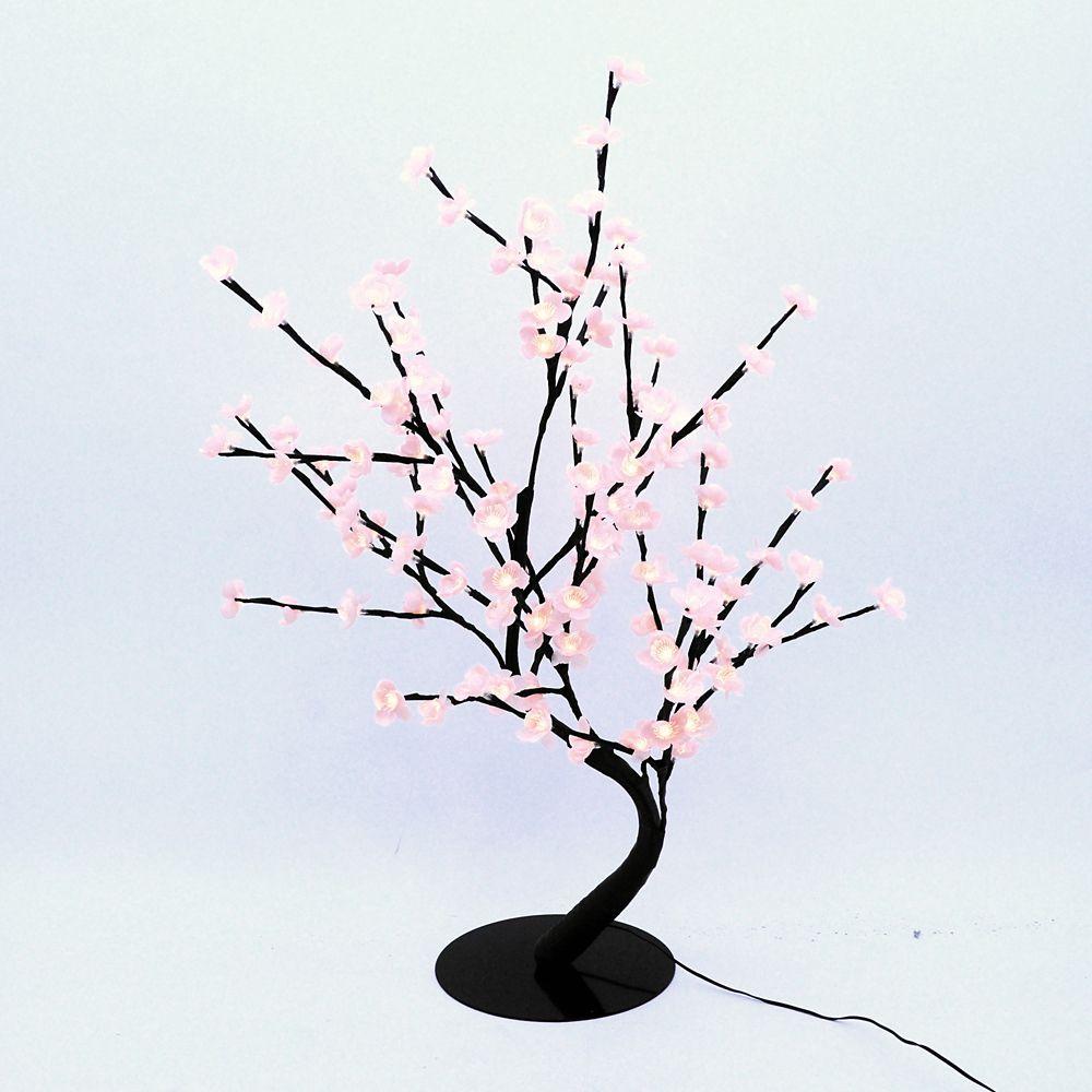 Lumières florales- Bonsaï orné de fleurs de cerisier  lumineuses roses, 128 DELS , pour l'intérie...