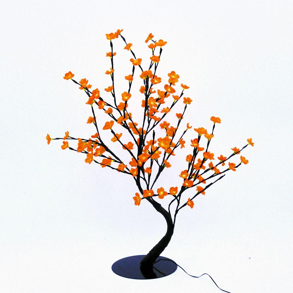 Lumières florales- Bonsaï orné de fleurs de cerisier  lumineuses oranges, 128 DELS , pour l'intér...