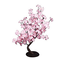 Hi-Line Gift Floral Lights - Pink Delphinium Bonsai Tree, 96 LED lights, Indoor only, 32 Inch  high, AC Adaptor
