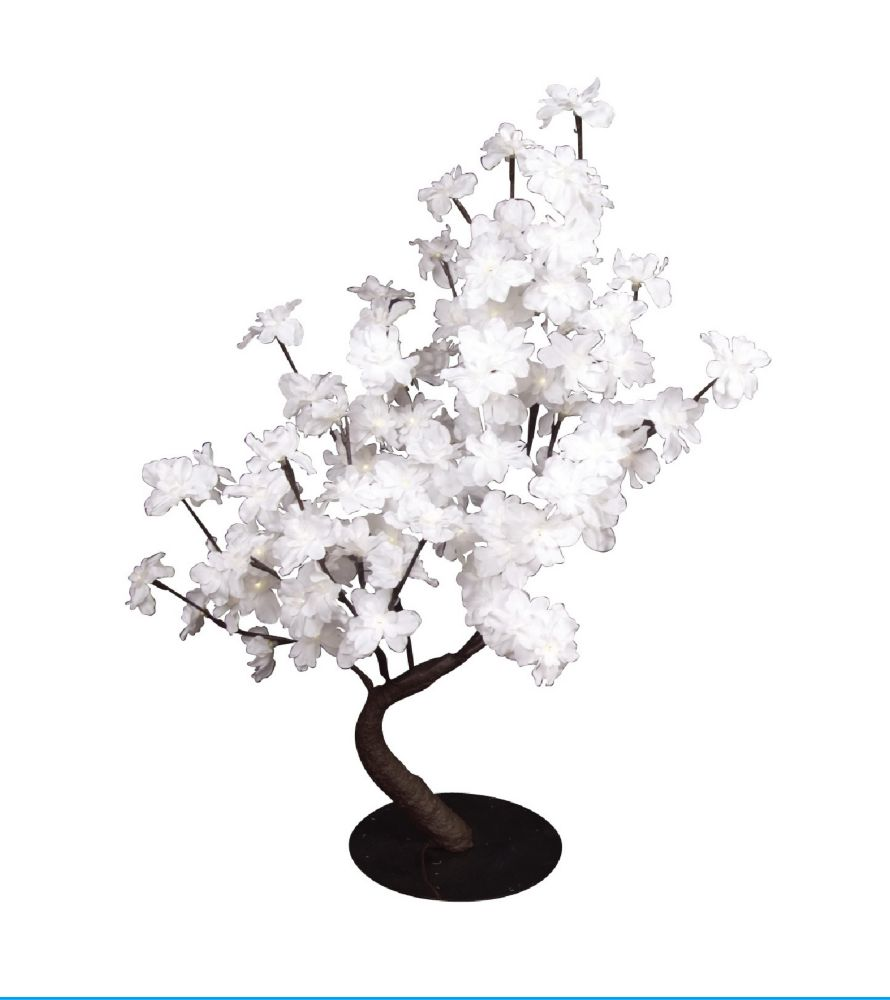 Floral Lights - White Delphinium Bonsai Tree, 96 LED lights, Indoor only, 32 Inch  high, AC Adapt...