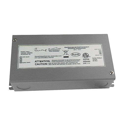 Illume 24W 12V DC Dimmable LED hardwire driver