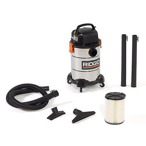RIDGID 22.5 L (6 Gal.) 4.25 Peak HP Stainless Steel Wet Dry Vacuum