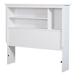 "Tête de lit bibliothèque simple (39""), Blanc solide, collection Bel Air"