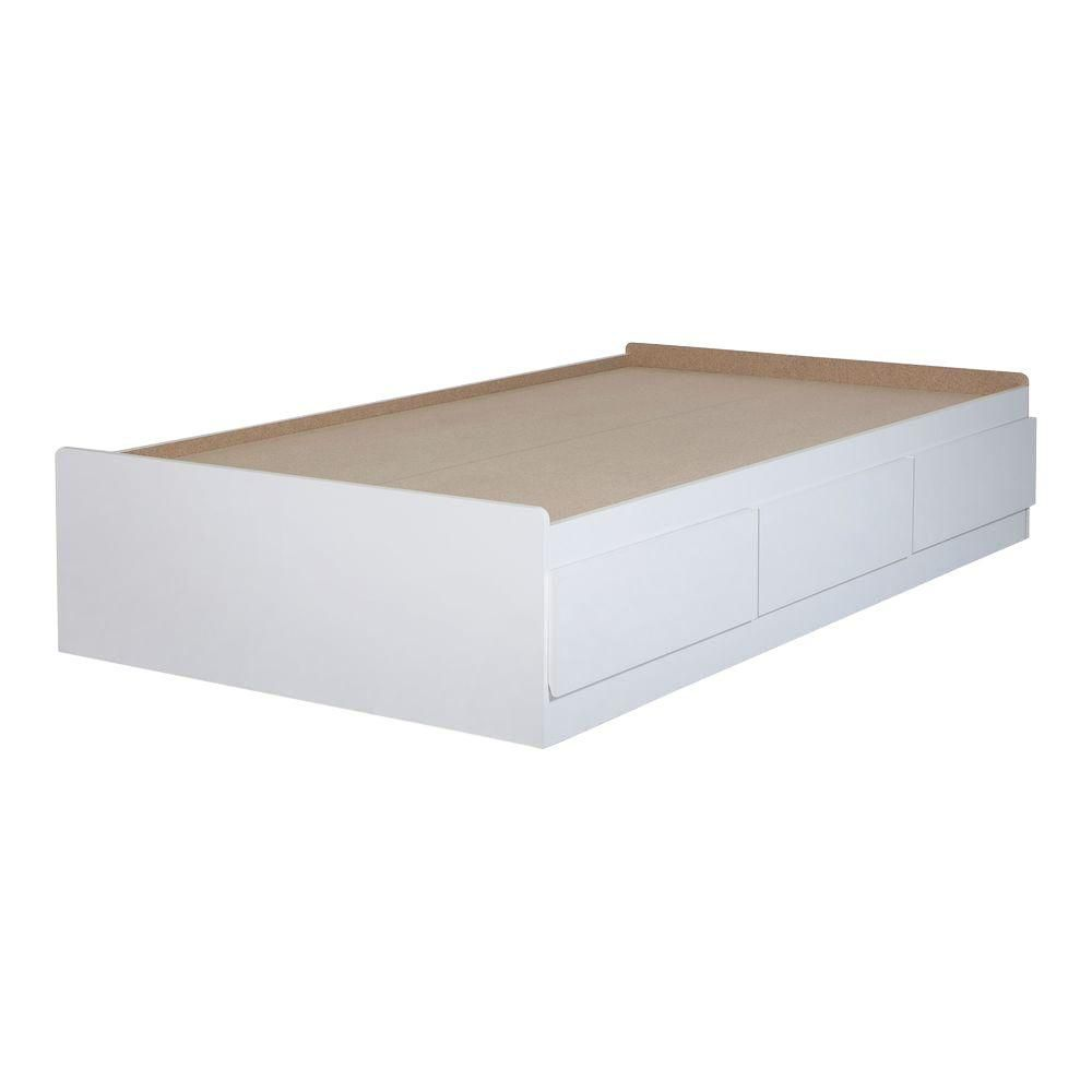Vito Twin Mates Bed (39 inch) with 3 Drawers, Pure White