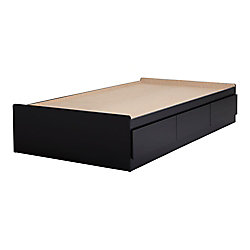 Vito Twin Mates Bed (39 inch ) with 3 Drawers, Pure Black
