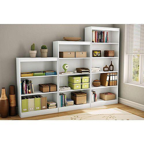 Axess 4-Shelf Bookcase, Pure White