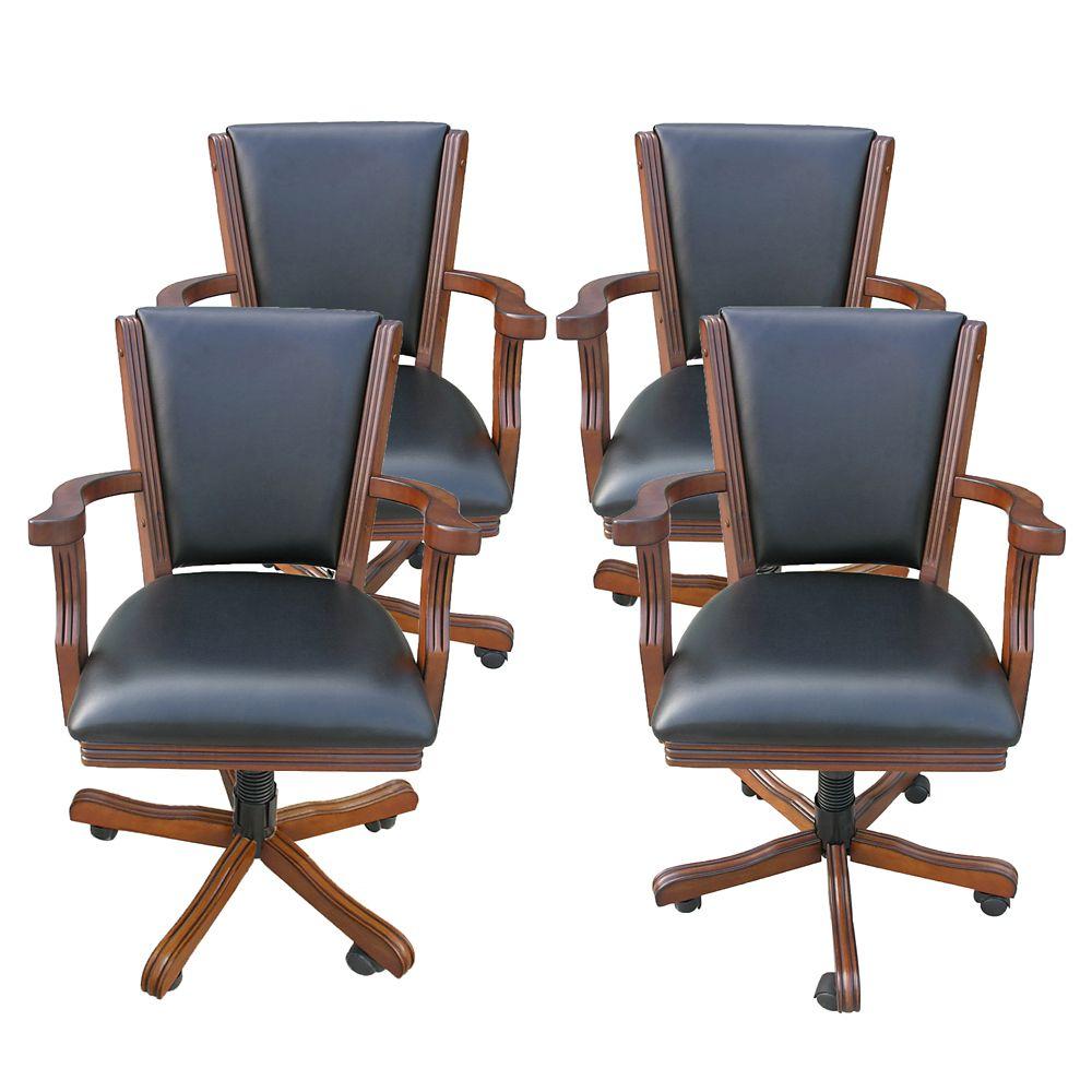 Kingston Walnut Poker Table Arm Chair - Set of 4