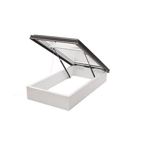 Columbia Skylights Puits de Lumière avec Accès au Toit 4pi x 4pi double vitrage transparent dôme acrylique avec cadre brun
