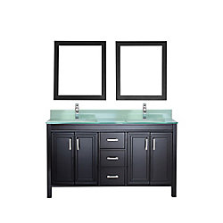 Art Bathe Corniche 60-inch W 3-Drawer 4-Door Vanity in Black With Acrylic Top in Green, Double Basins