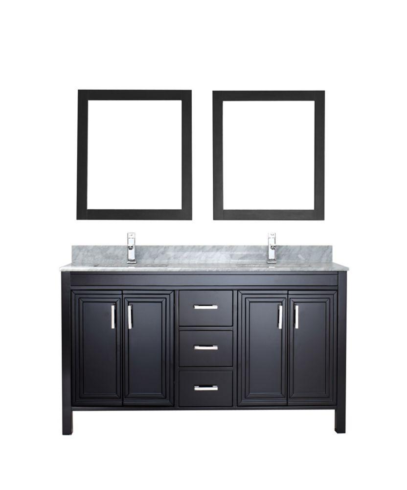 Corniche 60-inch W 3-Drawer 4-Door Vanity in Black With Marble Top in Grey, Double Basins