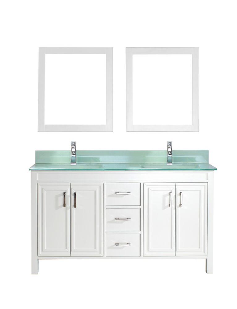 Vanité Corniche 60 de couleur white / glass avec miroir et robinet