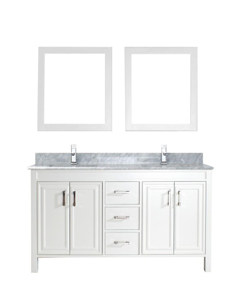 Vanité Corniche 60 de couleur white / carrera avec miroir et robinet