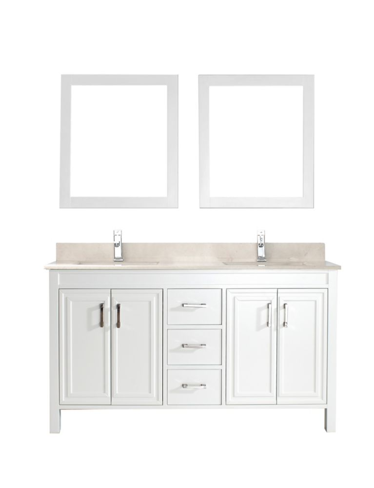 Corniche 60-inch W Vanity in White with Marble Top in Beige with Porcelain Basin and Mirror