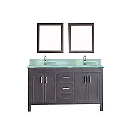 Art Bathe Corniche 60-inch W 3-Drawer 4-Door Vanity in Grey With Acrylic Top in Green, Double Basins