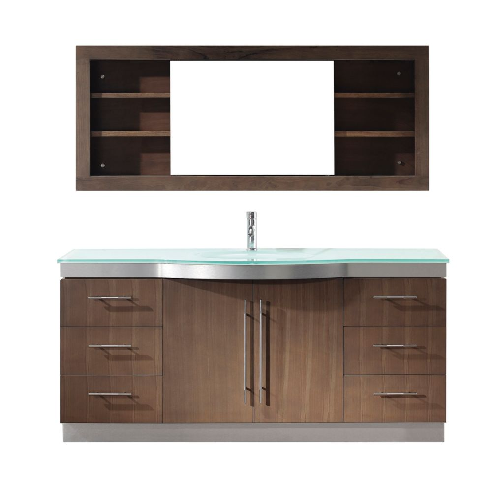 Dinara 72-inch W Vanity in Smoked Ash with Glass Top and Porcelain Basin and Mirror