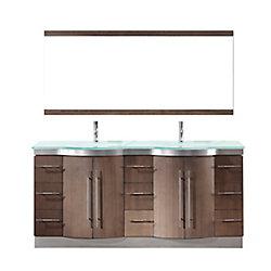 Art Bathe Dinara 72-inch W 6-Drawer 4-Door Vanity in Brown With Acrylic Top, Double Basins