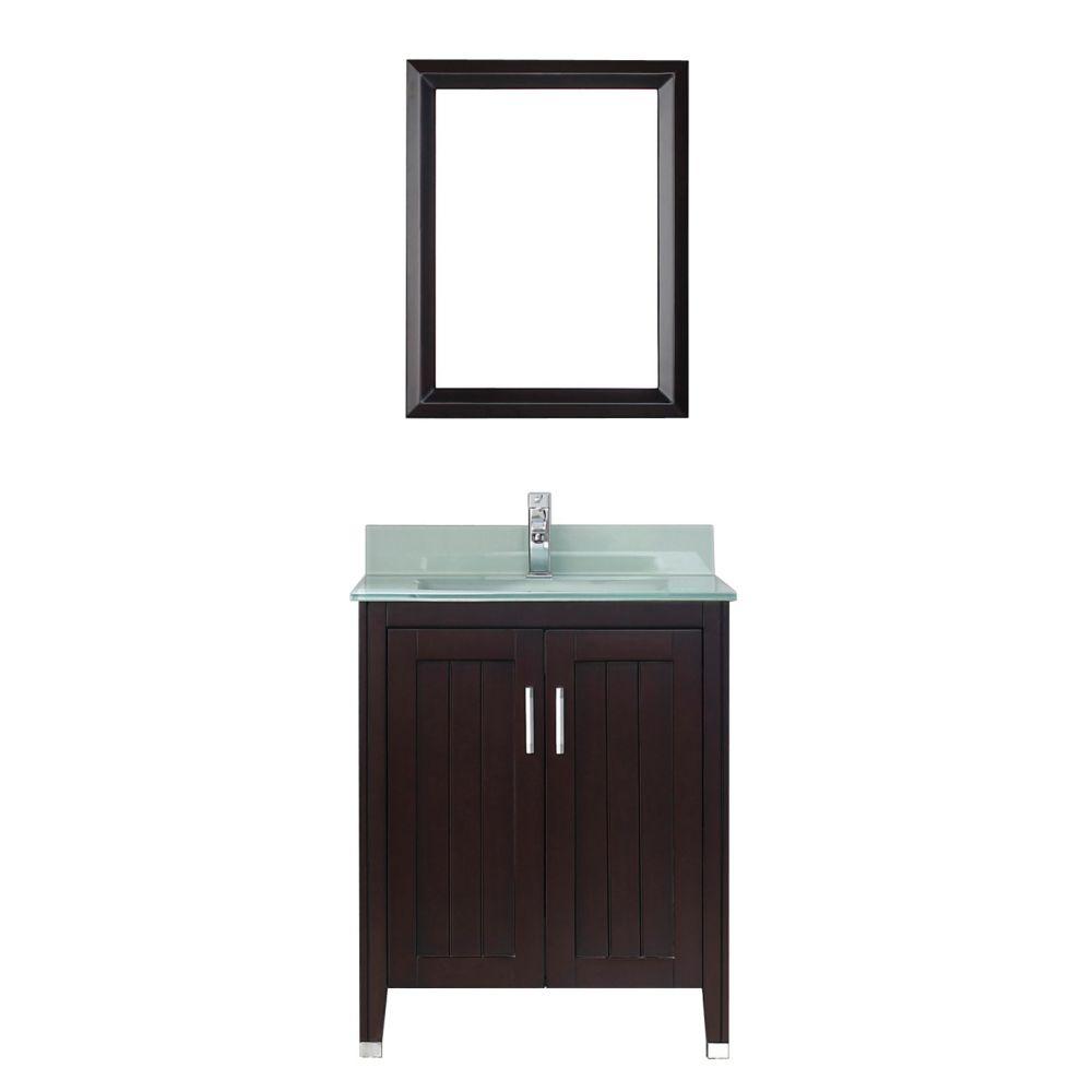 Vanité Jackie 28 de couleur chai / verre avec miroir et robinet