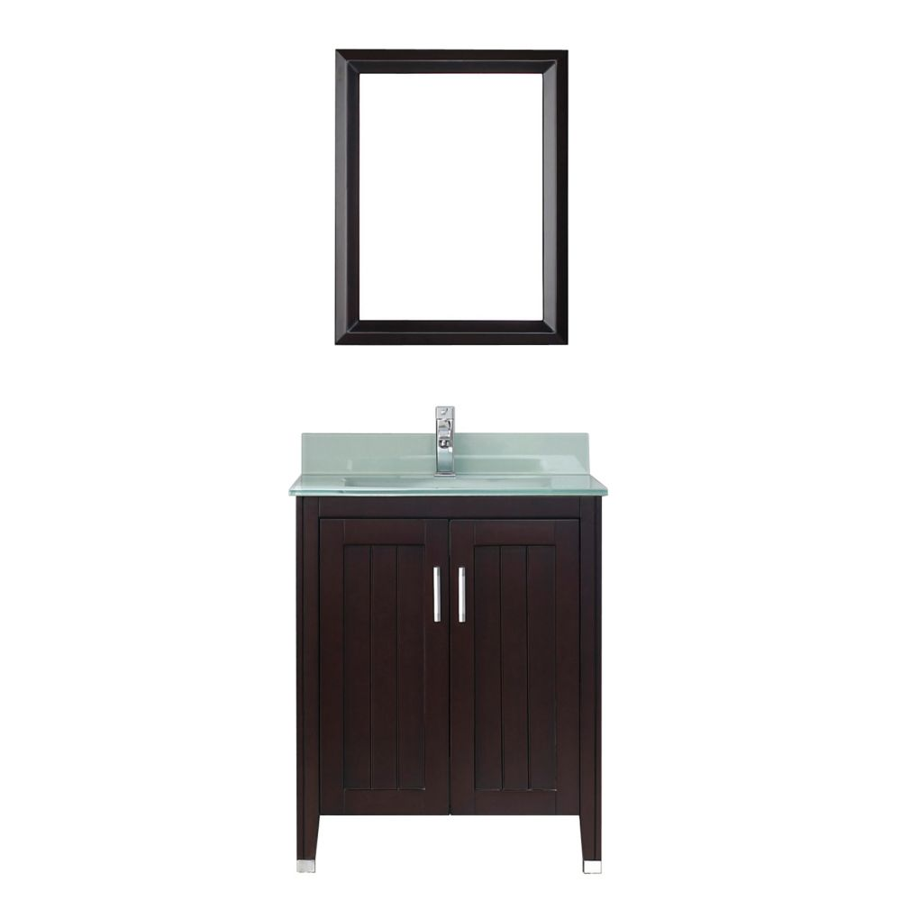 Jackie 28-inch W Vanity in Chai/Glass with Mirror and Faucet