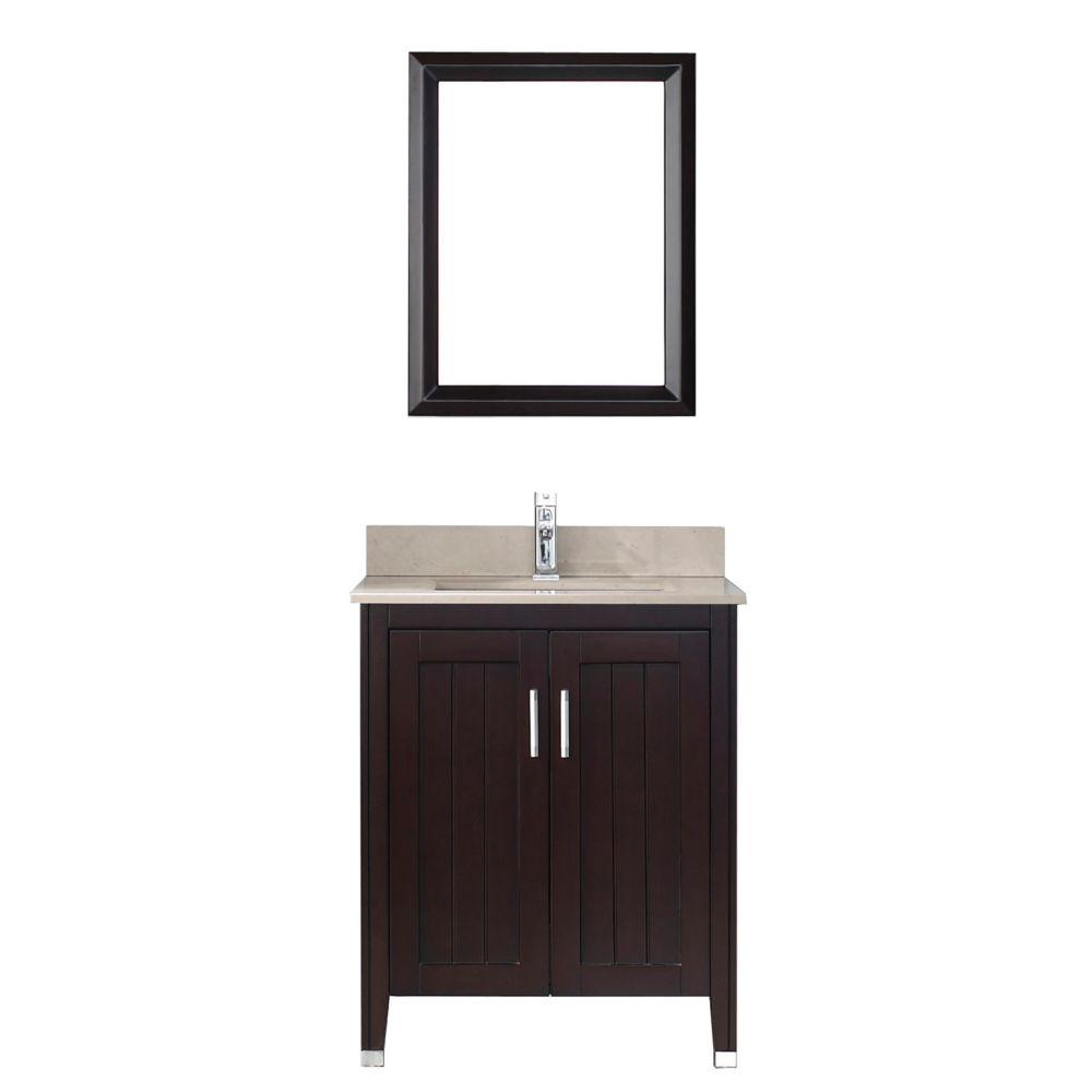 Vanité Jackie 28 de couleur chai / beige avec miroir et robinet