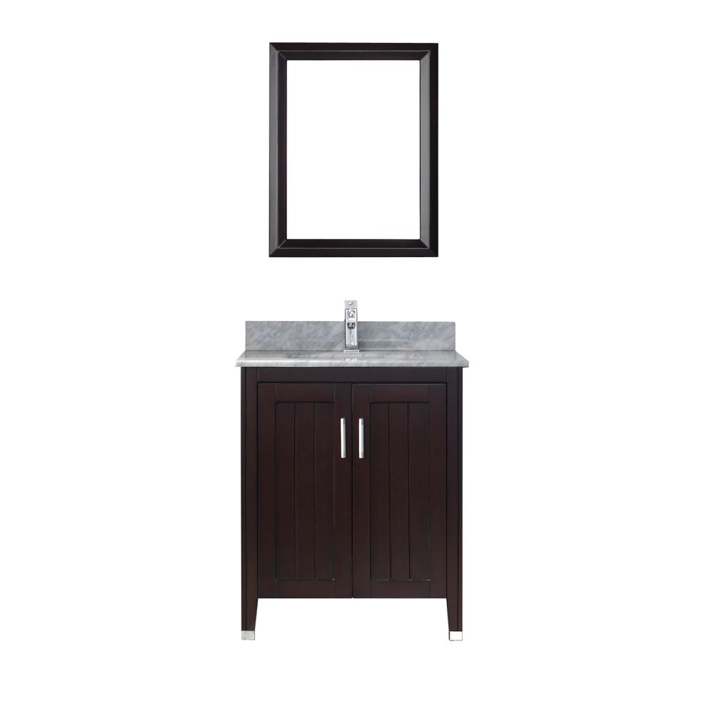 Jackie 28-inch W Vanity in Chai/Carrara with Mirror and Faucet