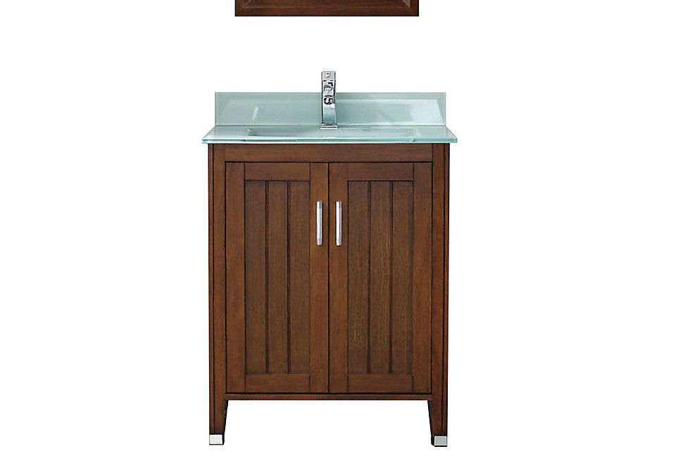 Jackie 28-inch W Vanity in Classic Cherry/Glass with Mirror and Faucet