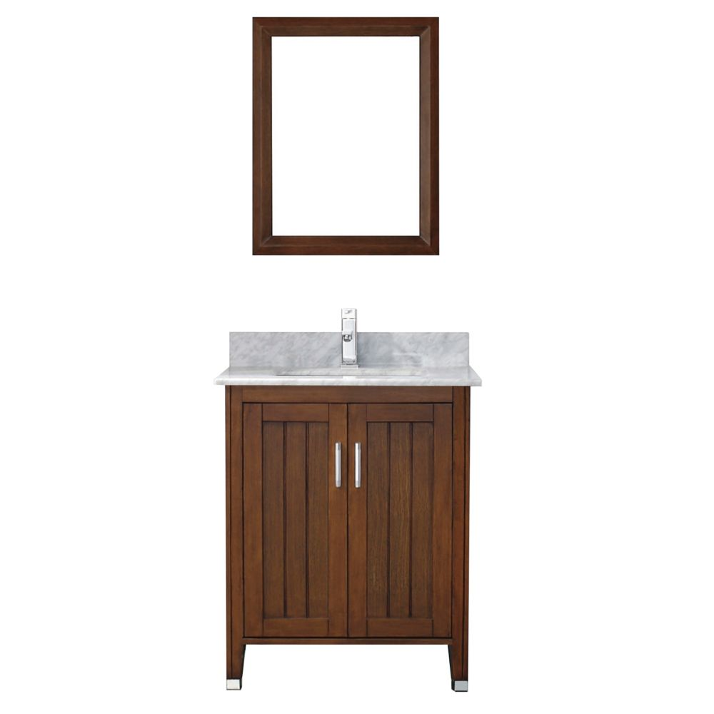 Jackie 28-inch W Vanity in Classic Cherry/Carrara with Mirror and Faucet