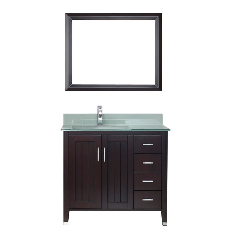 Art Bathe Jackie 36-inch W 4-Drawer 2-Door Vanity in Brown With Acrylic Top in Green With Faucet And Mirror
