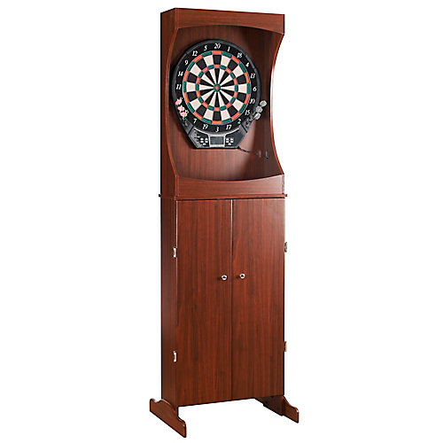 Outlaw Free Standing Dartboard & Cabinet Set in Cherry Finish