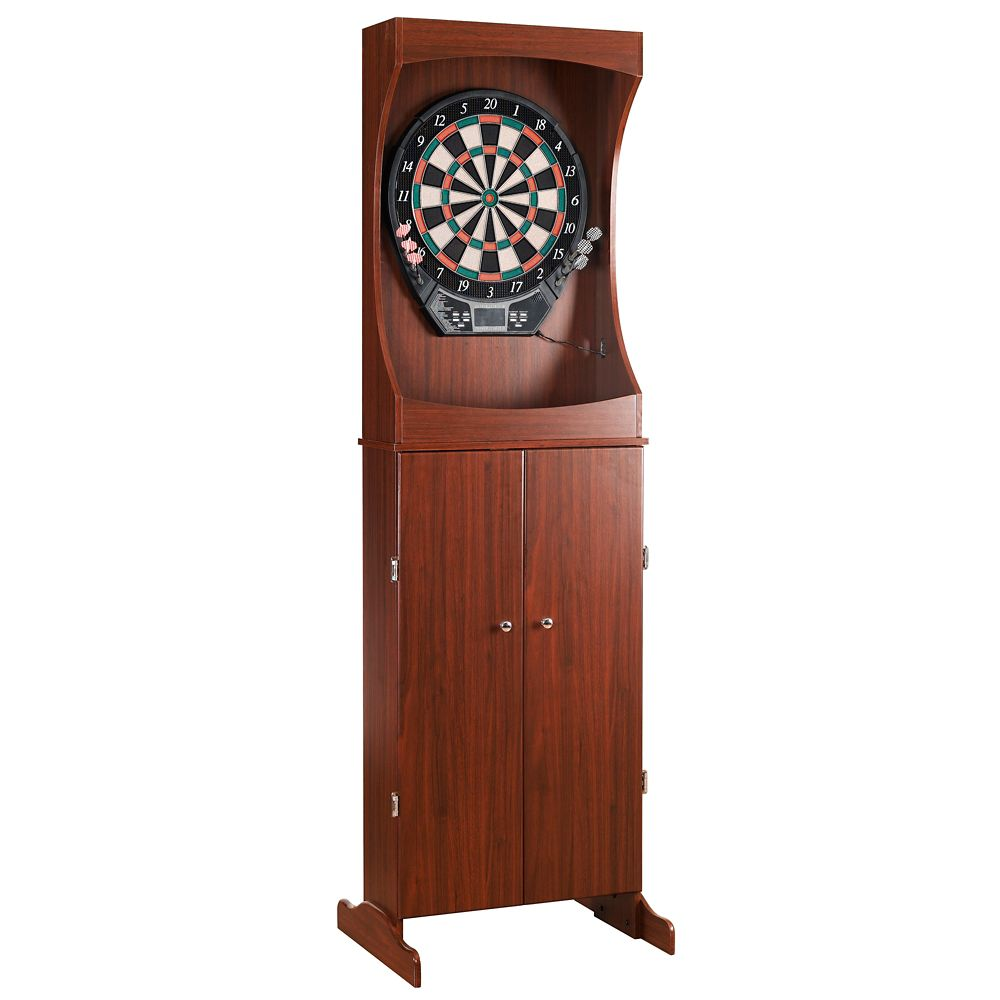 Hathaway Outlaw Free Standing Dartboard & Cabinet Set in Cherry Finish