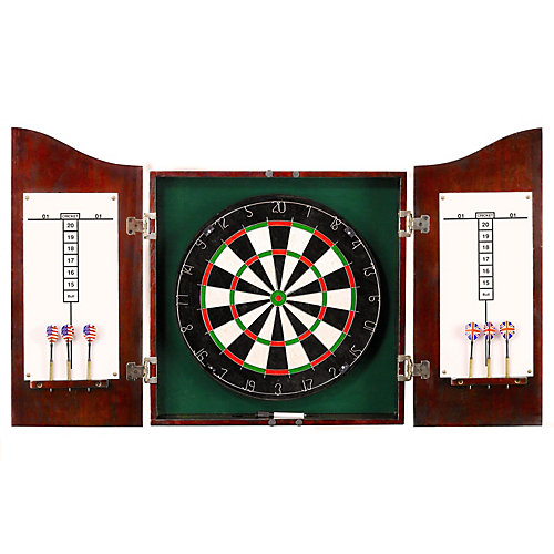 Centerpoint Solid Wood Dartboard & Cabinet Set in Dark Cherry Finish