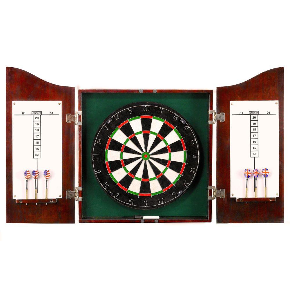 Centerpoint Solid Wood Dartboard & Cabinet Set - Dark Cherry Finish