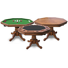 Table de poker Kingston 3-en-1 - chêne foncé